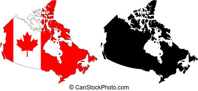 canada - vector map and flag of Canada with white...