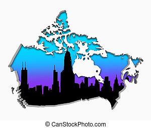 canada, ville, aire métropolitaine, illustration, horizon, vie nocturne, 3d