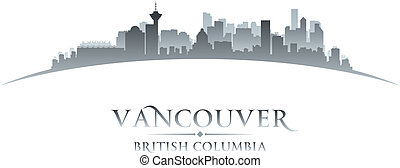 canada, ville, colombie, britannique, silhouette., horizon, ...