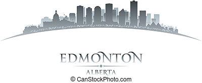 canada, ville, edmonton, illustration, silhouette., horizon...