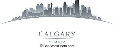 canada, ville, illustration, silhouette., calgary, horizon, ...