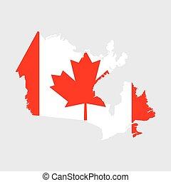 canada vlag, kaart