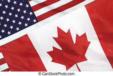 canada vlag, usa, gefuseerde