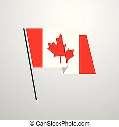 Canada waving Flag design vector background