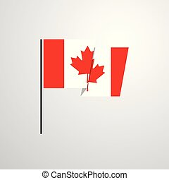 Canada waving Flag design vector background