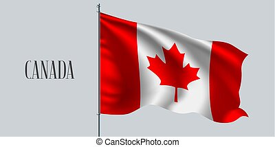 Canada waving flag on flagpole vector illustration