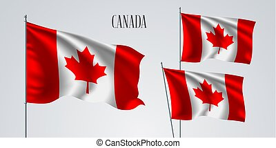 Canada waving flag set of vector illustration
