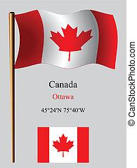 canada wavy flag and coordinates