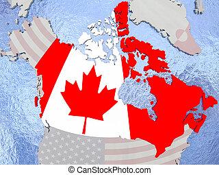 Canada with flag on globe
