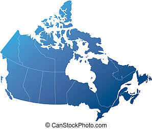 Canada with Provinces, Shades of Shaded Blue - Canadian map...