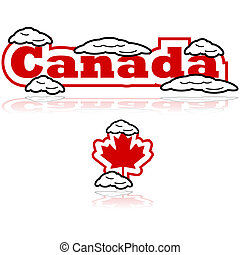 Canada with snow - Concept illustration showing the word ...