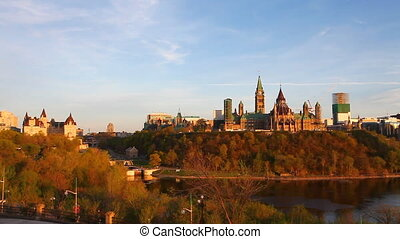 Canada's Parliament Buildings high on a hill, Ottawa