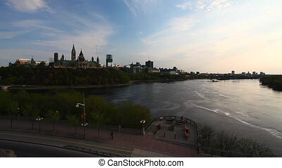 Canada's Parliament Buildings high on a hill in Ottawa -...