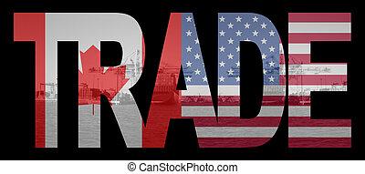 canadees, amerikaan, handel
