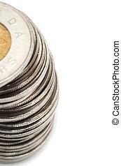 canadees, muntjes, dollar, achtergrond, witte , stapel