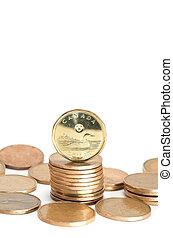 canadees, muntjes, dollar, een, achtergrond, witte , stapel