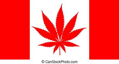 canadense, cannabis, bandeira, folha