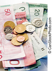 canadense, contas, e, moedas