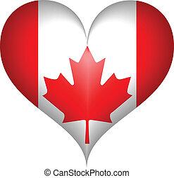 canadese, heart., vettore, bandiera
