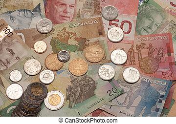 canadese munt, rekeningen, en, muntjes