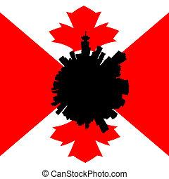 canadese, orizzonte, illustrazione, bandiera, vancouver, circolare