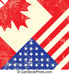Canadian and american grunge flag - A canadian and american ...