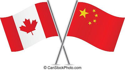 Canadian and Chinese flags. Vector illustration.