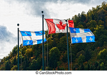 Canadian and the Quebec flag in autumn setting on a cloudy ...