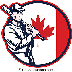 Canadian Baseball Batter Canada Flag Circle - Illustration...