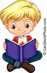 Canadian boy reading a book