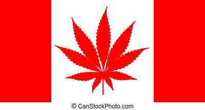 Canada flag with Marijuana leaf in a flat illustration isolated on white background. Cannabis legalization in Canadia.