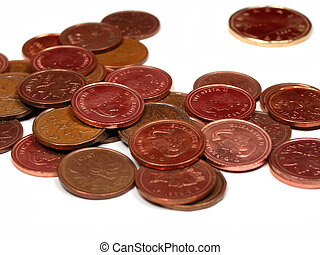 Canadian coins: pennies and dolllar, isolated on white background