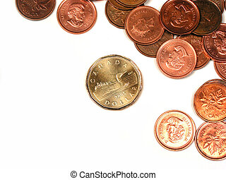 Canadian coins - Canadian pennies and a dollar coin on white...