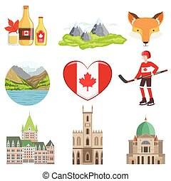 Canadian Culture Symbols Set Of Items. Isolated Objects...