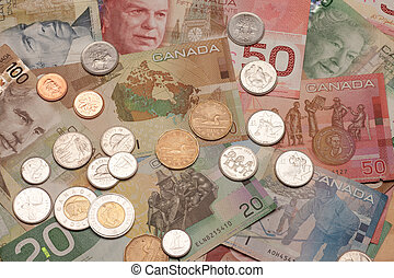 Canadian currency, bills and coins