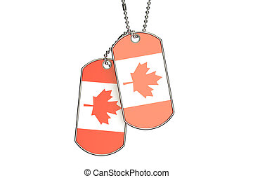 Canadian Dog Tags, 3D rendering