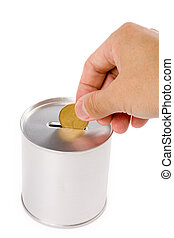 canadian dollar and Coin Bank, concept of savings or Donation