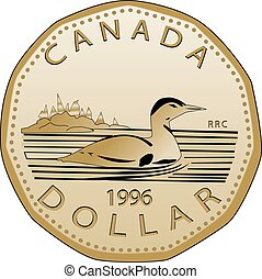 Canadian dollar fully vectorized. Very detailed, realistic front view of a Canadian dollar.