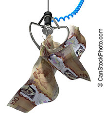 Canadian Dollar In A Robotic Claw - An robotic claw from an...