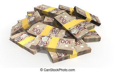 A pile of randomly scattered wads of Canadian Dollar banknotes on an isolated background