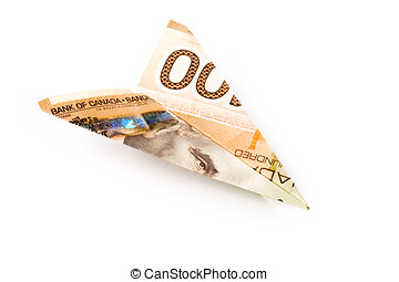canadian dollar paper airplane, business concept
