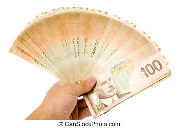 Canadian Dollars close up for background