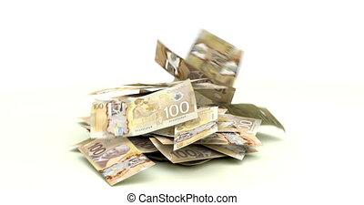 Canadian Dollars falling on white background