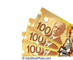one hundred canadian dollars. Foreign currency over white background