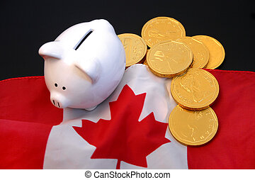 Canadian economy 3 - Piggy bank and gold coins against...