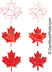 Canadian Emblem maple leaves - A set of maple leaves in a...