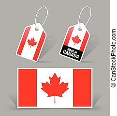 Canadian flag and tags