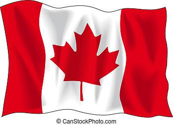 Canadian flag - Canadian wavy flag isolated on white...