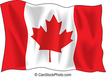Canadian flag - Canadian wavy flag isolated on white...