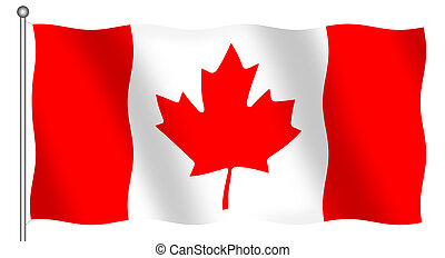 Flag of Canada waving (isolated)